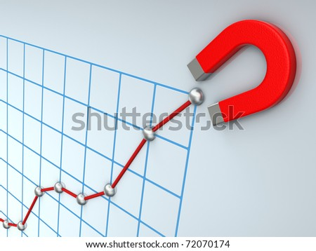 Growing business graph with magnet - stock photo