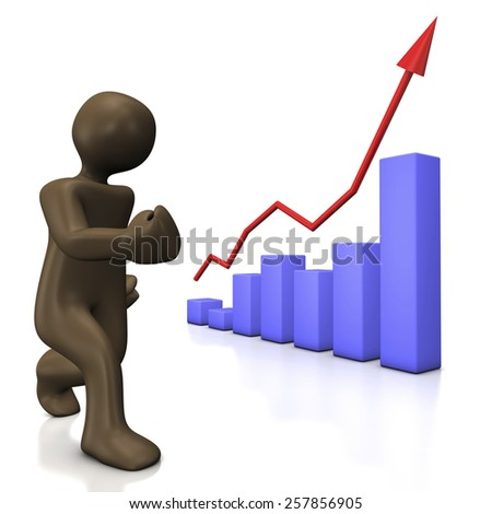 Growing chart, 3d illustration with cartoon character - stock photo