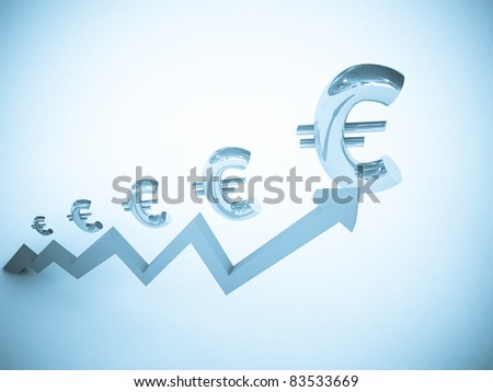 Growing chart with euro symbols. - stock photo