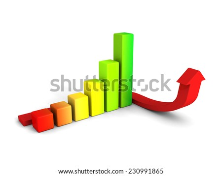 growing colorful business graph with rising arrow. 3d render illustration
