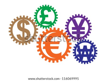 Growing colorful money sign gears. Convert to image from Vector image ID. 115371019, for who need to use raster (.jpg) file. - stock photo