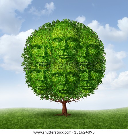 Growing community group as a tree with green leaves shaped as a connected network of human heads as a social partnership working together for a common strategy to grow as a successful organized team.