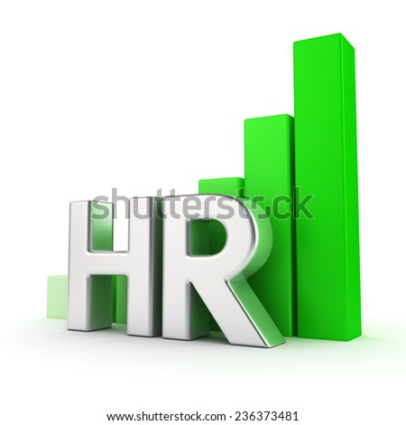 Growing graph of HR on white, success of employee recruitment - stock photo