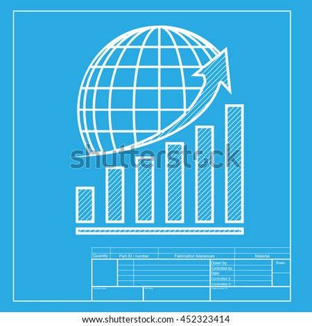 Growing graph earth white section icon stock illustration 452323414 growing graph with earth white section of icon on blueprint template malvernweather Gallery