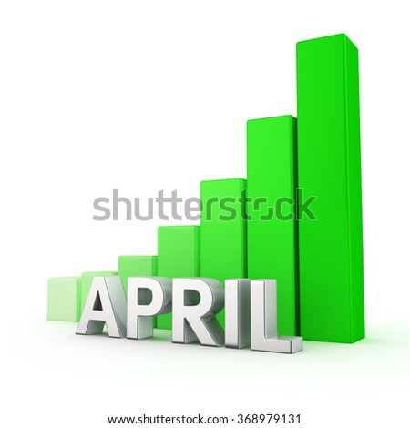 Growing green bar graph of April on white. Monthly plans growth concept. - stock photo