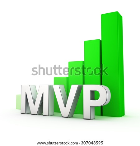 Growing green bar graph of MVP on white - stock photo