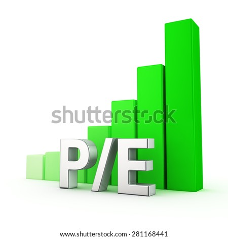 Growing green bar graph of P/E on white. Investment attractiveness concept. - stock photo