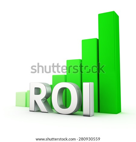 Growing green bar graph of ROI on white. Income growth concept. - stock photo
