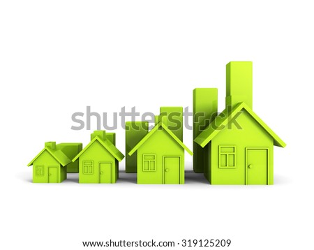 Growing Green House Chart Graph. Real Estate Concept 3d Render Illustration - stock photo