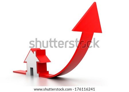 Growing home sale graph - stock photo