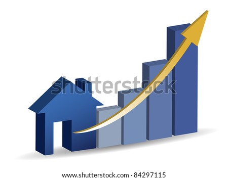 Growing home sales illustration design - stock photo