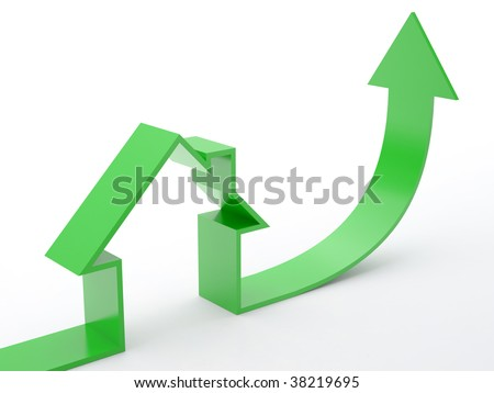 Growing home sales on white background - stock photo
