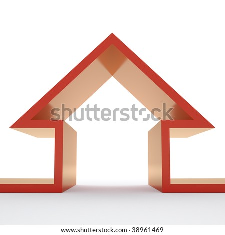 Growing house sales on white background - stock photo