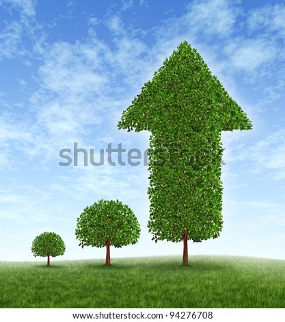 Growing Investment and financial success with long term conservative money planning and wealth management with an investing strategy as a young tree growing to a huge plant with an arrow pointing up. - stock photo