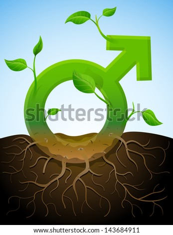 Growing male symbol like plant with leaves and roots. Plant in shape of men sign in ground. Image about men's biology and health, male psychology (father, son), sex differences, gender role, etc - stock photo