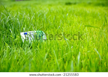 Growing money in green grass lawn - stock photo