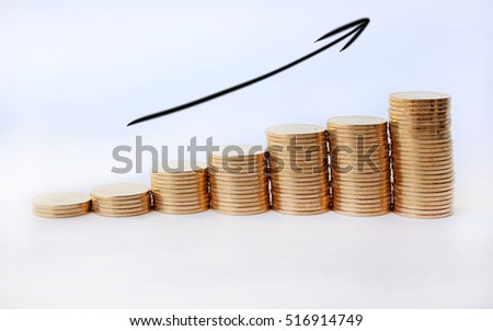 Growing of gold coins stack with arrow sign up on white background, Business Finance and Money concept.