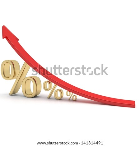 Growing Percentage Sign - stock photo