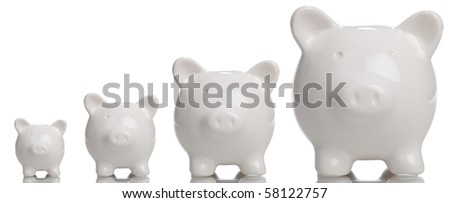 Growing Piggy Bank - stock photo