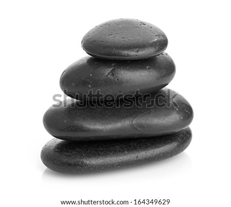 Growing piled up pebbles on a white background - stock photo