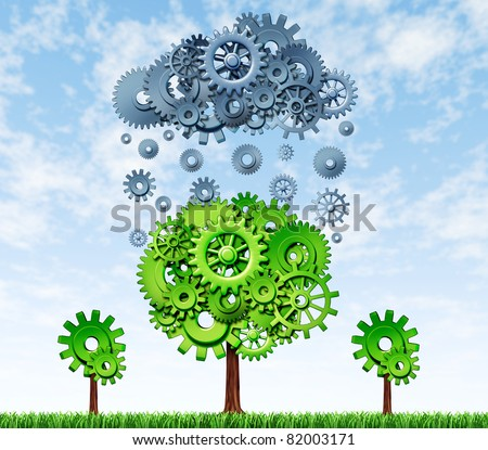 Growing Profits with investing in new technologies with a green tree and a rain cloud made of gears and cogs showing the concept of success for companies that invest in research and development. - stock photo
