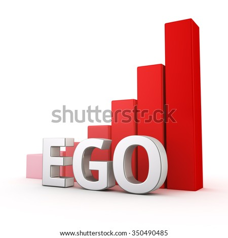 Growing red bar graph of Ego on white. More ego more problem