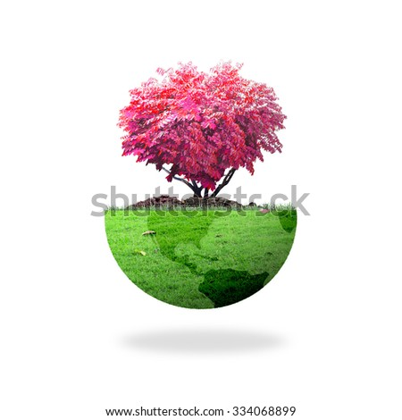 Growing red big tree in shape heart with a green earth globe of grass isolated on white background. Healthcare, Nurture, Sustainable development,  World Environment Day, Soil concept. - stock photo