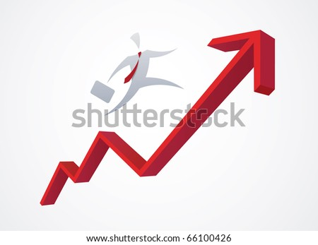 Growing red business graph - stock photo