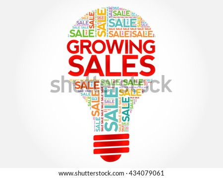 Growing Sales bulb word cloud, business concept background - stock photo