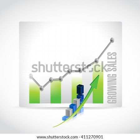 growing sales business graph sign concept illustration design graphic - stock photo