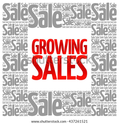 Growing Sales words cloud, business concept background - stock photo