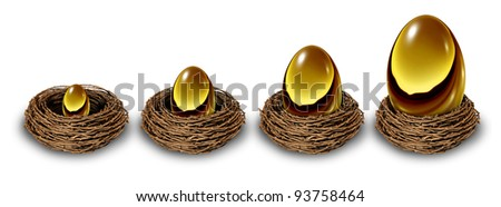 Growing savings as a financial chart in a gold nest egg increasing in size and value from a small investment to a very wealthy large retirement fund as a long term conservative investing strategy. - stock photo