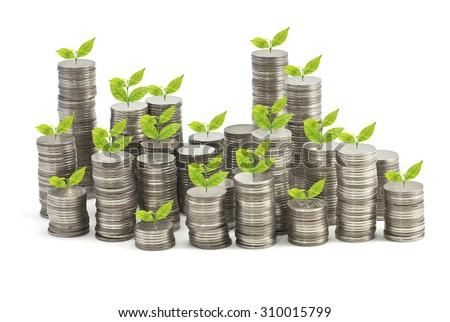 Growing Stack of coins , Saving plan - stock photo