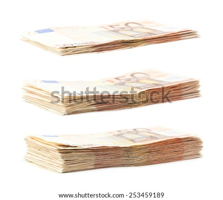 Growing stack pile of fifty euro bank notes isolated over the white background - stock photo