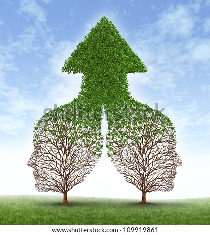 Growing together partnership with two trees in the shape of human business men heads merging as one to form a successful team resulting in fertile growth ass a leaf arrow pointing up. - stock photo
