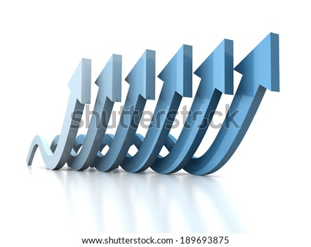 growing wave arrows blue group on white reflection. success business concept 3d render illustration - stock photo
