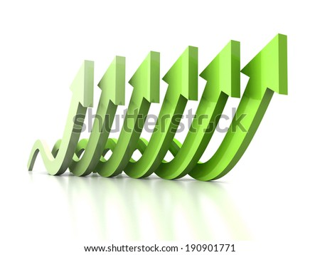 growing wave arrows green group on white reflection. success business concept 3d render illustration - stock photo