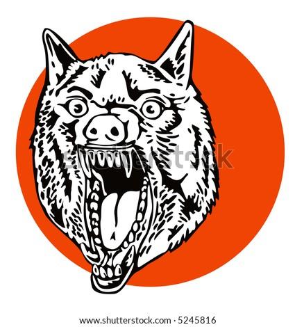 growling wolf - stock photo
