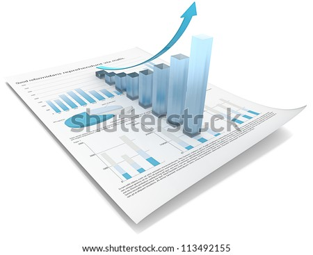 Growth. Abstract financial document with 3d graph of frosted glass. - stock photo