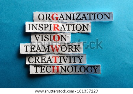 growth  acronym in business concept, words on cut paper hard light - stock photo