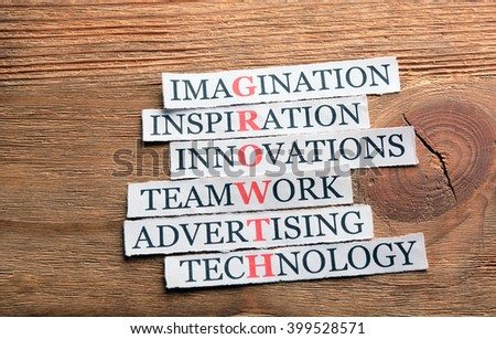 growth acronym in business concept, words on cut paper on wooden backgrownd - stock photo