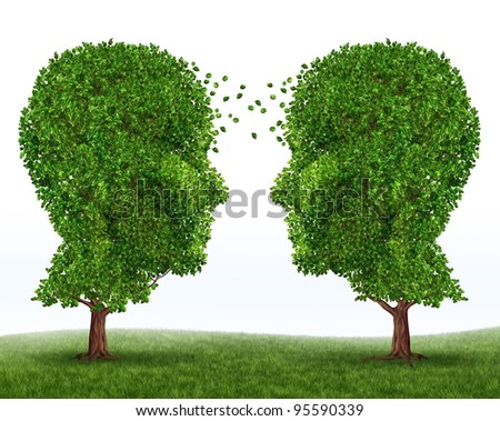 Growth and communication business symbol of partnership and financial teamwork with two trees in the shape of human heads on white growing together for strong success and future wealth.