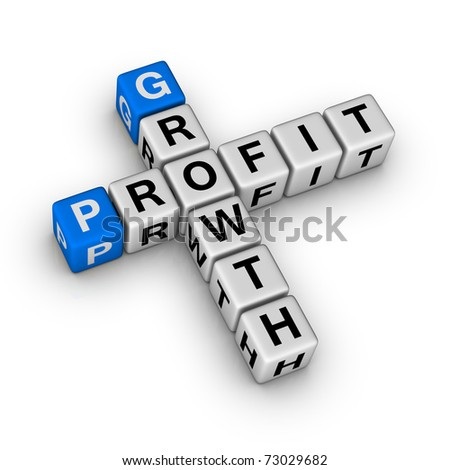 growth and profit crossword - stock photo