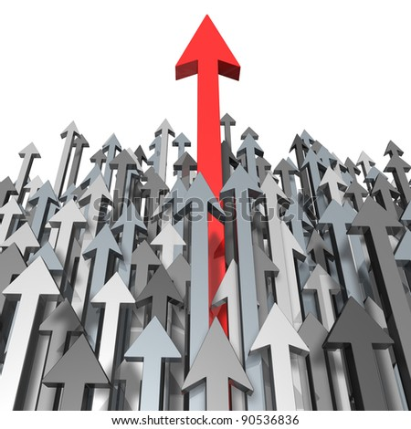 Growth and Success breaking through moving up and standing out from the crowd and aspiring with clear focus of a goal as a red arrow leading the race with grey arrows for  competition achievement. - stock photo