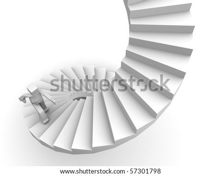 Growth and success man stepping stairway to his destination 3d illustration - stock photo