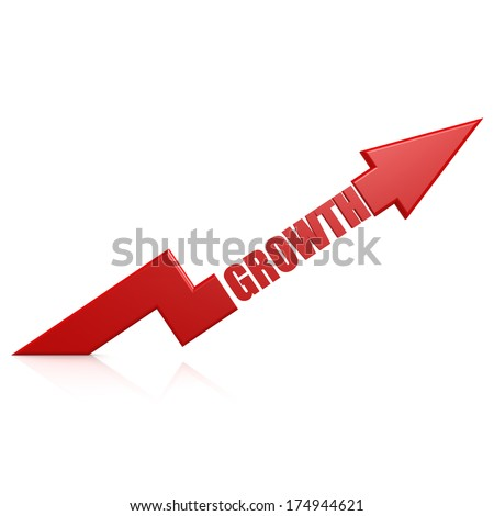 Growth arrow up red - stock photo
