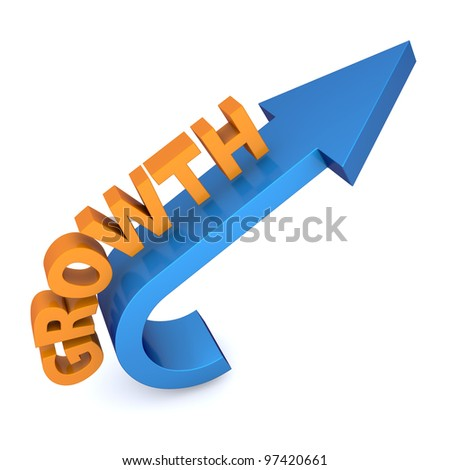 Growth arrow with word - stock photo