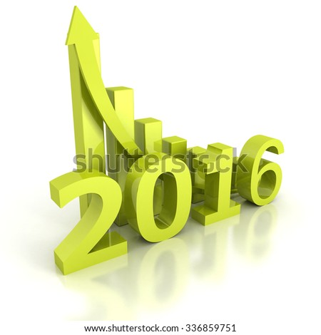 Growth 2016 Bar Chart With Rising Up Arrow. 3d Render Illustration - stock photo