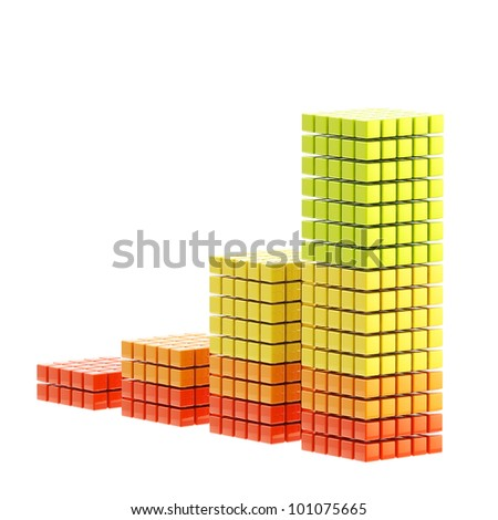 Growth bar graph made of cubes isolated on white - stock photo