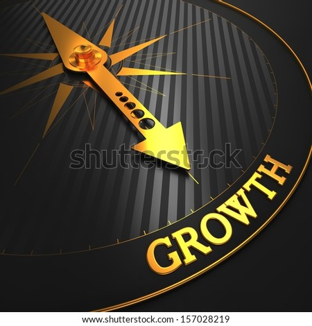 """Growth - Business Background. Golden Compass Needle on a Black Field Pointing to the Word """"Growth"""". 3D Render. - stock photo"""